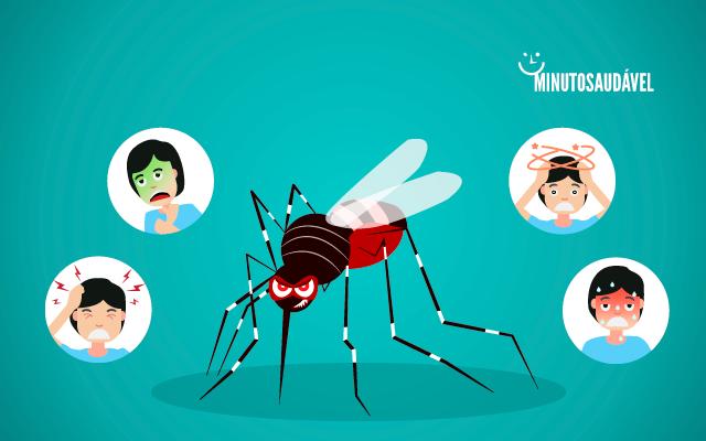 Ilustração do mosquito da dengue, ao lado há ilustrações dos sintomas comuns da doença.