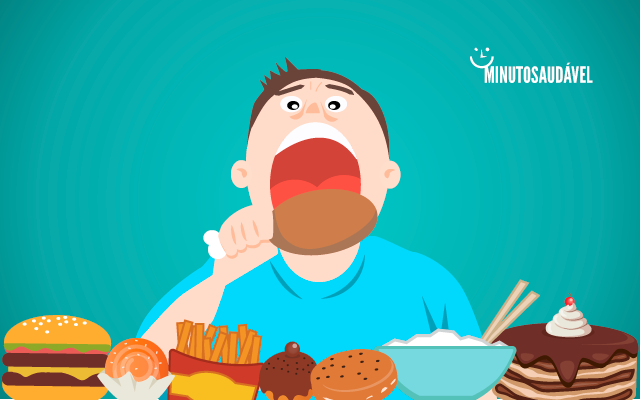 Ilustração de um homem comendo uma coxa de frango, cercado por diversas outras comidas