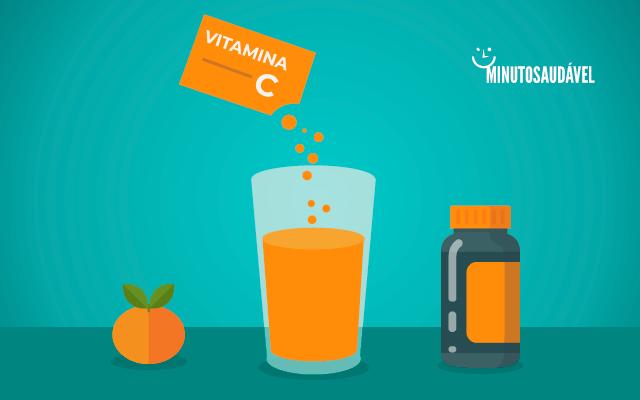 Sachê de vitamina C sendo despejado em um copo da água.