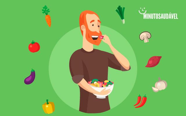 ilustração de um homem comendo verduras e legumes