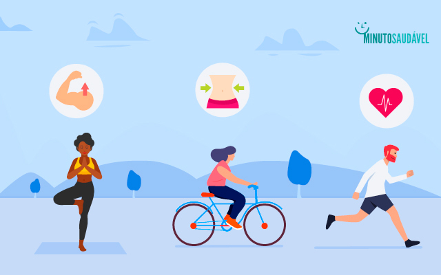 imagem com uma pessoa fazendo ioga, outra andando de bicleta e outra correndo