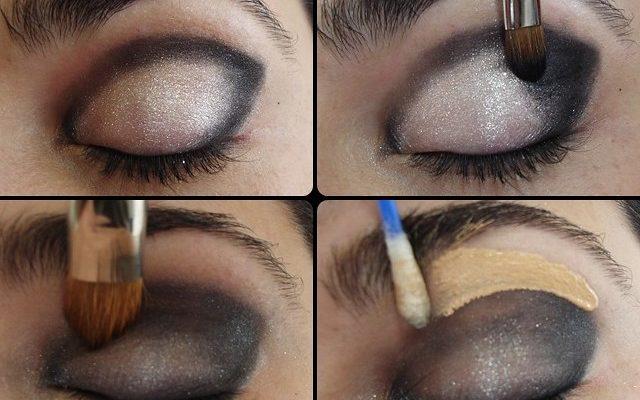 Passo a passo de maquiagem preta ns olhos.