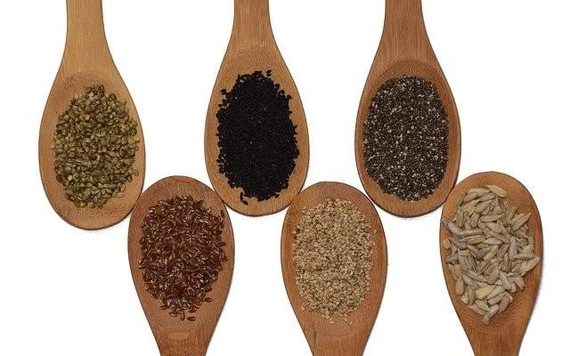Diversas colheres com variados tipos de sementes.